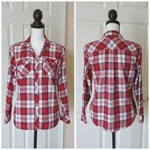 Croft & Barrow flannel plaid button down shirt red
